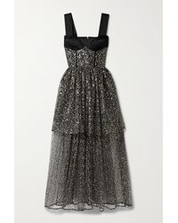 Rasario Tiered Sequined-embellished Tulle And Satin Gown - Black