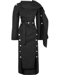 Awake - Backless Button-embellished Twill Midi Dress - Lyst