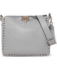 Valentino - Garavani The Rockstud Small Textured-leather Shoulder Bag - Lyst