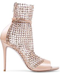 Rene Caovilla - Galaxia Crystal-embellished Mesh And Satin Sandals - Lyst
