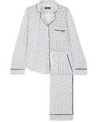 DKNY Signature Printed Cotton-blend Jersey Pyjama Set - Blue