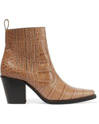 Ganni - Callie Croc-effect Leather Ankle Boots - Lyst