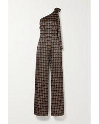 Seren Lila One-shoulder Printed Silk-satin Jumpsuit - Black