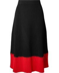 Alexander McQueen - Two-tone Ribbed-knit Midi Skirt - Lyst