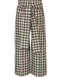 Silvia Tcherassi - Salve Cropped Gingham Cotton-blend Wide-leg Pants - Lyst