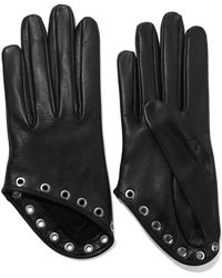 Alexander McQueen - Eyelet-embellished Leather Gloves - Lyst