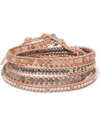 Chan Luu - Leather, Gunmetal-plated And Multi-stone Wrap Bracelet - Lyst