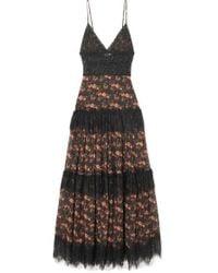 Charo Ruiz Dama Crocheted Lace-paneled Floral-print Cotton-blend Voile Maxi Dress - Black