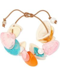 Dinosaur Designs Pipi Leather, Resin And Faux Pearl Bracelet - Multicolour