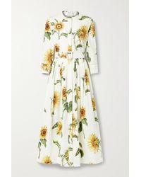 Oscar de la Renta Hemdblusenkleid Aus Popeline Aus Einer Baumwollmischung Mit Blumenprint Und Gürtel - Weiß