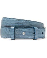 Acne Studios Anemone Gürtel Aus Leder Mit Eidechseneffekt - Blau