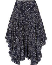 Stella McCartney - Asymmetric Printed Silk Crepe De Chine Midi Skirt - Lyst