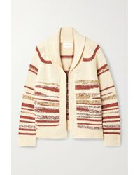 The Great The Landscape Lodge Striped Crochet-knit Cotton-blend Cardigan - Natural