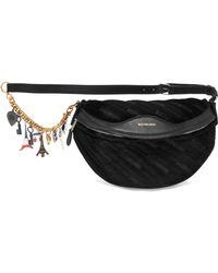 Balenciaga - Souvenir Embellished Leather-trimmed Velvet Belt Bag - Lyst