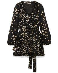 LoveShackFancy Rina Ruffled Metallic Fil Coupé Silk-blend Chiffon Mini Dress - Black