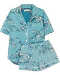 Desmond & Dempsey Pyjama En Voile De Coton Imprimé - Bleu