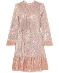 07aee221e5c7 Needle & Thread Rainbow Embellished Ruffled Tulle Midi Dress in Pink ...