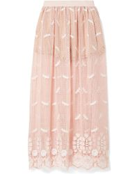 Miguelina | Paris Embroidered Crocheted Cotton Maxi Skirt | Lyst