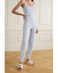 Reformation + Net Sustain Carmel Ribbed Stretch- Lyocell Top And Trousers Set - Blue