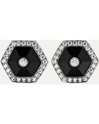 Fred Leighton Collection 18-karat White Gold, Jade And Diamond Earrings - Metallic