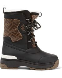 e81ad0d63d4 Gucci Flashtrek Faux Shearling-trimmed Suede, Leather And Printed ...