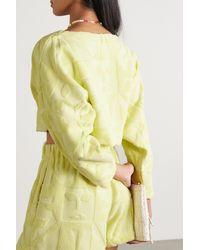 Lucy Folk Beam Cropped Cotton-terry Sweatshirt - Yellow