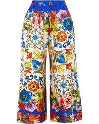 Dolce & Gabbana - Cropped Printed Silk-twill Wide-leg Trousers - Lyst