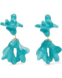 Dinosaur Designs - Small Coral Resin And Gold-tone Earrings - Lyst