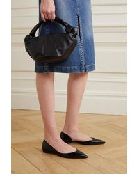 Christian Louboutin Iriza Croc-effect Leather Point-toe Flats - Black