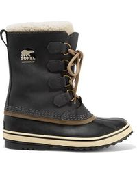 Sorel 1964 Pac 2 Fleece-trimmed Nubuck And Rubber Snow Boots - Multicolour