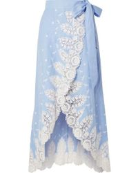Miguelina Clarice Crochet-trimmed Linen Wrap Skirt - Blue