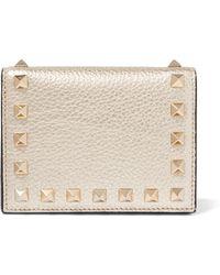 Valentino - Rockstud Metallic Textured-leather Wallet - Lyst