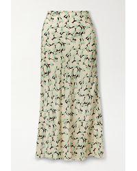RIXO London Kelly Printed Silk Crepe De Chine Maxi Skirt - Black