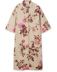 Dries Van Noten Dorali Floral-print Cotton-poplin Shirt Dress - Natural