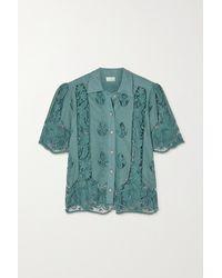 Miguelina Constance Guipure Lace-paneled Cotton Shirt - Multicolour