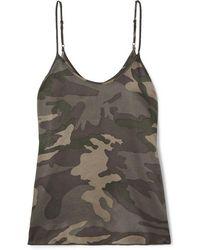 ATM Camouflage-print Silk-satin Camisole - Green