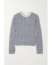 Victoria, Victoria Beckham Checked Jacquard-knit Jumper - Blue