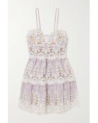 Miguelina Sara Crocheted Cotton And Linen Mini Dress - Multicolour