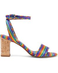 Tabitha Simmons - Leticia Striped Canvas And Grosgrain Sandals - Lyst