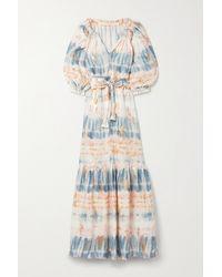 Anna Mason Belted Metallic Tie-dyed Linen Maxi Dress - Blue