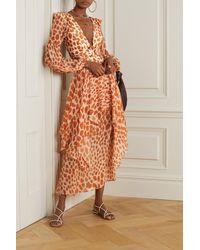 PATBO Margot Layered Printed Chiffon Maxi Skirt - Orange