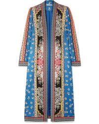 Alice + Olivia Linoa Jacquard-trimmed Printed Crepe De Chine Kimono - Blue