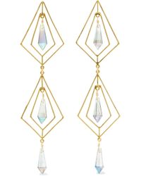 Mercedes Salazar - Gold-plated Crystal Earrings - Lyst