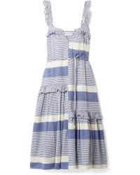 Apiece Apart Lypie Ruffle-trimmed Striped Cotton-gauze Maxi Dress