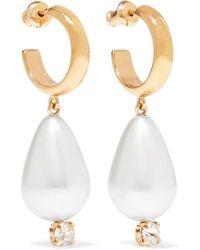 Simone Rocha Gold-tone, Faux Pearl And Crystal Earrings - White