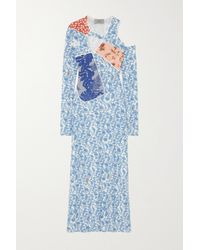 Preen By Thornton Bregazzi Toru Cutout Floral-print Stretch-crepe And Velvet Dress - Blue