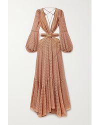 PATBO Embellished Cutout Stretch Jersey-trimmed Crochet-knit Maxi Dress - Pink