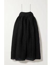 Cecilie Bahnsen Robe Midi En Cloqué De Lin Mélangé Edition Beth - Noir
