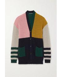 ALEXACHUNG - Nora Color-block Ribbed-knit Cardigan - Lyst