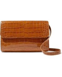 BY FAR Cross-over Croc-effect Leather Shoulder Bag - Brown